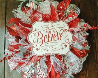 Christmas Wreath, Christmas, Believe, Believe Wreath, Red Wreath, Silver Wreath, New Year's Wreath, New Years, New Year's Eve