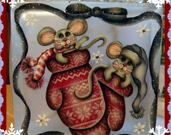MIttens and Mice Glass Block