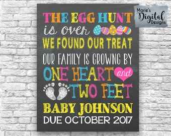 PRINTABLE The Egg Hunt Is Over We Found Our Treat Our Family Is Growing By One Heart Two Feet Chalkboard Easter Pregnancy Announcement JPEG