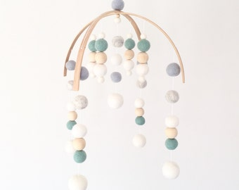 No. 3 \\  Deluxe Modern \\ Neutral Baby  Mobile - Green, Blue and Light Grey