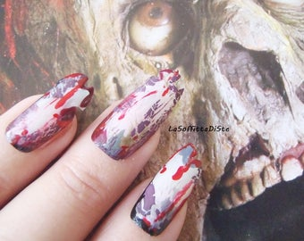 halloween zombie false nails witch zombie cosplay horror cosplayer fake nails costume tips goth uñas quirky cosplay monster lasoffittadiste