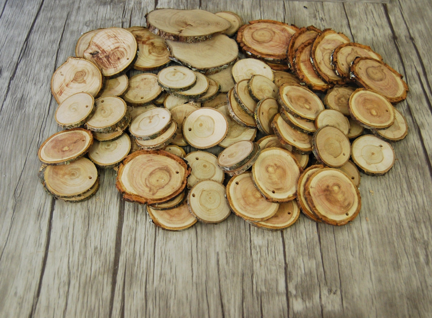 Tree branch slices 100 pcs different wood slices diy - Decorazioni in legno ...