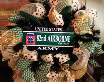Made to Order, Army Wreath, 82nd Airborne wreath, military wreath, Army door decor