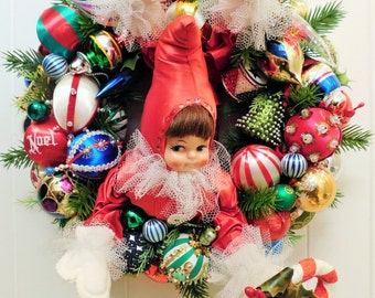 Vintage Christmas Ornament Ball Wreath with Retro Sixties Elf, Shiny Brite, Sequin, and Beaded Ornaments