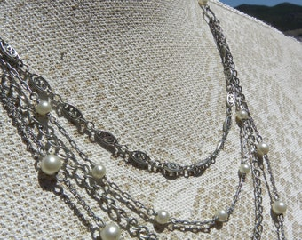 Stunning vintage silvertone necklace, pearls, no tarnish, gothic, victorian