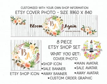 etsy shop set boho shop set feather shop set boho chic set flower wreath set etsy shop branding boutique shop set etsy banner set