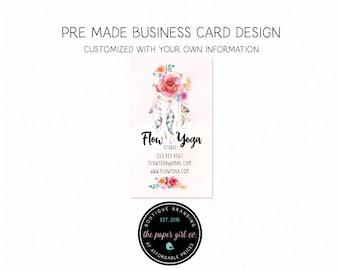 yoga business card dreamcatcher business card boho business card boho chic business card calling card social card thank you card mommy card