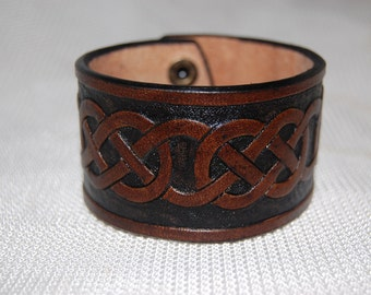 Handmade 100% Leather Celtic Style Wristband leather cuff. bracelet