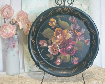 Hand Painted Roses Toleware Wall Pocket, Vintage, Cottage, Shabby Chic