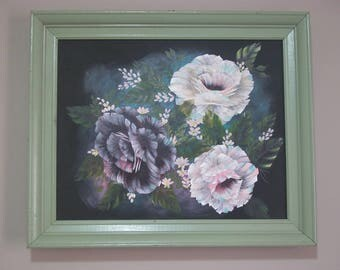 Original Hand Painted Roses Acrylic Painting, Shabby Chic, Cottage Decor