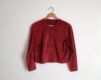 SALE Vintage Maroon Faux Fur Cropped Cardigan Jacket