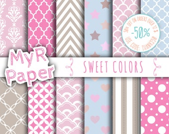 "Digital Paper: ""Sweet Colors"" Baby Blue, Lilac, Taupe, Light Pink, Fuchsia with chevron, polka dots, stripes, damask, quatrefoil, Star"