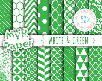 """SALE 50% Christmas Digital Paper: """"White & Green"""" Digital Paper Pack and Backgrounds with Chevron, Damask, Triangles, Stripes and Polka Dots"""