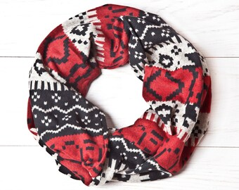 Red Aztec Scarf, Tribal Scarf, Infinity Scarf, Geometric Scarf, Gifts for Women, Red Scarf, Gift for Sister, Circle Scarf, Mother Day Gift