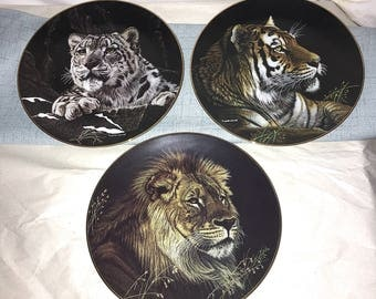 3 Hamilton Collection Natures Majestic Cats Plates Limited Tiger Leopard Lion