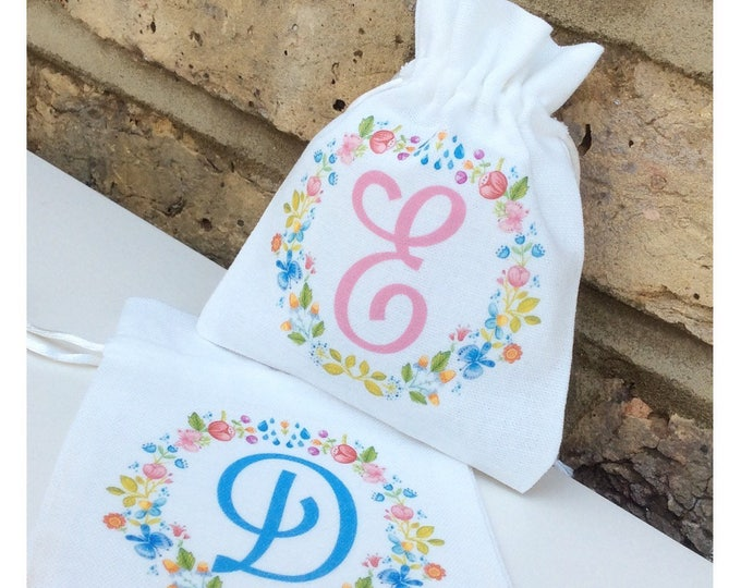 Personalised small gift bags | jewellery pouch | Wedding pouches | Floral design.