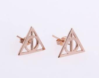 Harry Potter Earrings,Personalize Symbol Earrings,Stud Earrings,Rose Gold Harry Potter Jewelry,Triangle Earrings,Harry Potter Fans Gift