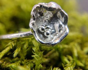 Birds Nest Ring, With Eggs, Sterling Silver Nest, Rustic Texture, Inspired By Nature
