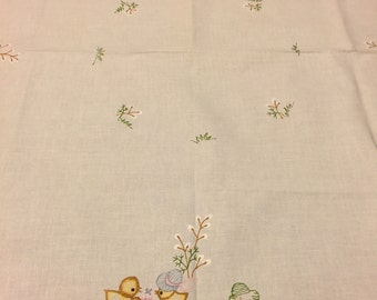German Linen Cotton Tablecloth   Spring Chicks   Easter Tablecloth    Embroidered Chicks   Spring Tablecloth