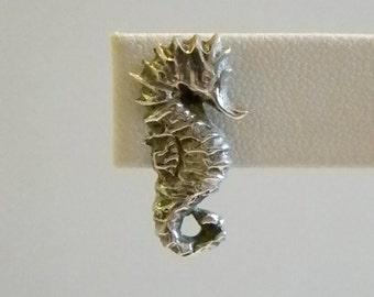 Sterling Silver Sea Horse Screw Back Earrings
