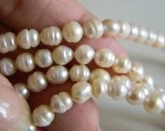 Baroque Cream Colored Pearl Necklace