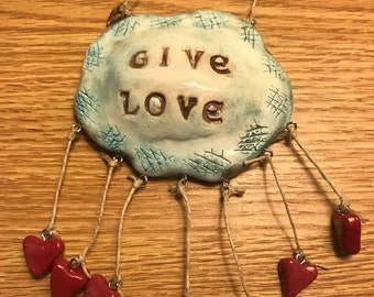 Give Love Cloud with hearts handmade polymer clay