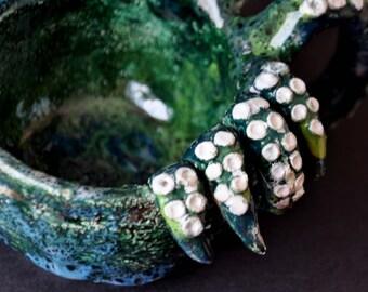 Ceramic Sauce Tentacle. Octopus, bottom, Lovecraft, green, handmade, ceramics, glaze, gloomy, unusual.
