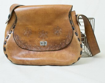 Vintage 70's Tooled Leather Purse Saddle Bag