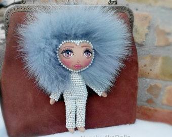 Handmade Fashion Doll, Bag Charm, KeyChain Doll, Ooak Doll, Gift For Her, Rag Doll, Cloth Doll, Fabric Dolls, Stuffed Toys. Chanel.