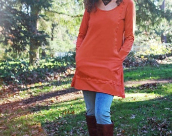 Macha Tunic - Organic Cotton Jersey Tunic with Pockets, Hand Dyed