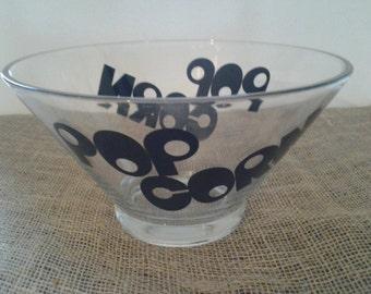 Large Glass Popcorn Bowl , Snack Bowl, Chip Bowl