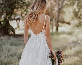 Gillian / Lace Bohemian Wedding Dress / Cotton Lace with OPEN BACK Boho Romantic Rustic Wedding Dress /Thin Spaghetti Straps