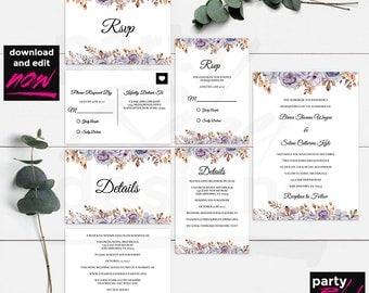 Vintage Floral Wedding Invitation,  Watercolor Invitation, Printable Wedding Invitation, Floral, Wedding Templates, Editable Text, WS16