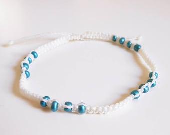 White turquoise beaded macrame anklet  - beach surf gypsy mediterranean anklet - adjustable woven ankle bracelet