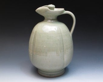Large Celadon Stoneware Decanter, 9 inch Pristine Studio Pottery Decanter, Hand Thrown Altered Decanter