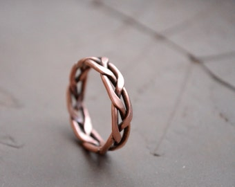 Boho men Copper ring, big finger ring for him, Silver Men ring, copper rope ring, Everyday casual jewelry, Hobbit Ring, Divergent ring