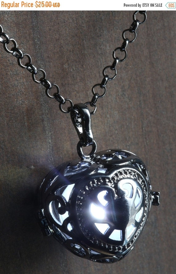 ON SALE TODAY - White Glowing Pendant Necklace heart Locket Black, Romantic Gift for Her, Fairy glow Jewelry
