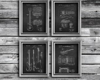 Musician decor, Vintage Fender Guitar Poster set of 4 Chalkboard Art  Guitar Patent prints. Gift for Boyfriend, musician gift Guitarist gift