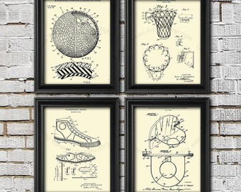 Basketball Decor Set of 4 Basketball Art Prints, Gift for Basketball Player, Sports Decor, Basketball room Decor Gift for him