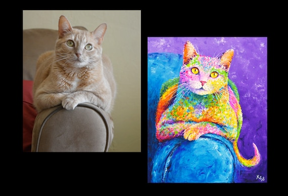 Custom Pet Painting - 16 x 16 inches or 16 x 20 inches - 1 pet