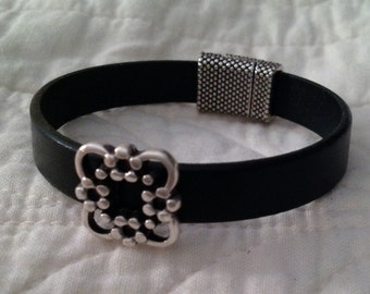 10mm Flat Black Leather Bracelet with Antique Silver