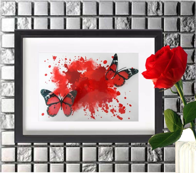 Red Floating Butterflies Abstract 3d Art Box Frame Pictureliving Roomloungedining Roombedroomwater Colour Effect
