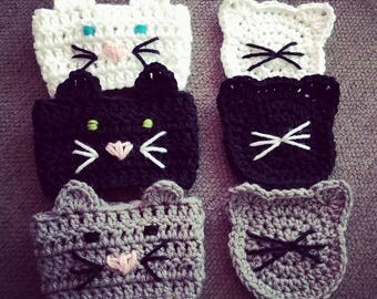 Crochet Kitty Cafe - 3-Pack Kitty Cozy & Coaster
