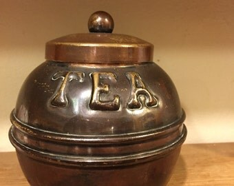 Miniature  copper tea caddy