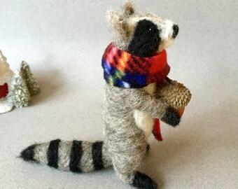 Needle felted raccoon, felted animal, Waldorf animal , wool felt animal,  cute animal, needle felted animal, woodland animal, felted raccoon