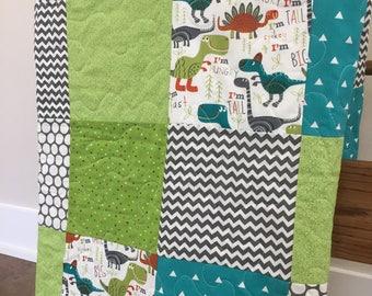 Baby Quilt, Boy Nursery, Modern Nursery, Green, Teal, Gray, Dinosaur, Chevron, Geometric, Crib Bedding, Baby Bedding, Handmade