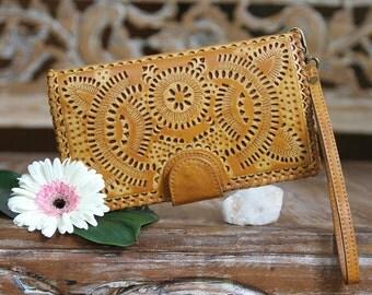 Cognac Leather Wallet, Womens Wallet with Wristlet, Boho Women's Wallet Purse, Vintage Wallet, Bohemian Wallet, Gypsy Wallet, Womens Purse
