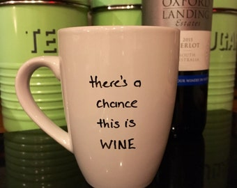 Mug. Wine. Hand Decorated. There's a chance this is wine