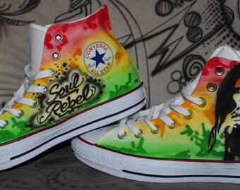 "Customized converse chucks Marty ""Bob Marley"" reggae themed sneaker jamaica style"