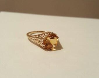 14k Gold Ring Citrine Vintage